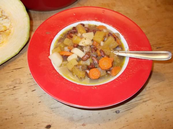 """Bohnen-Zukkini-Suppe mit den Samen einer grünen Bohne (""""Telstar"""")"""