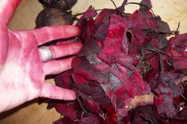 Rote Hände - aber nicht schlimm, das geht schnell wieder ab.