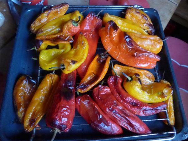 Paprika erhitzt, enthäutet und in Öl eingelegt