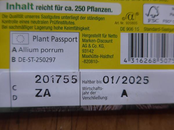 Saatgut-Tütchen mit Angaben zum Pflanzenpass