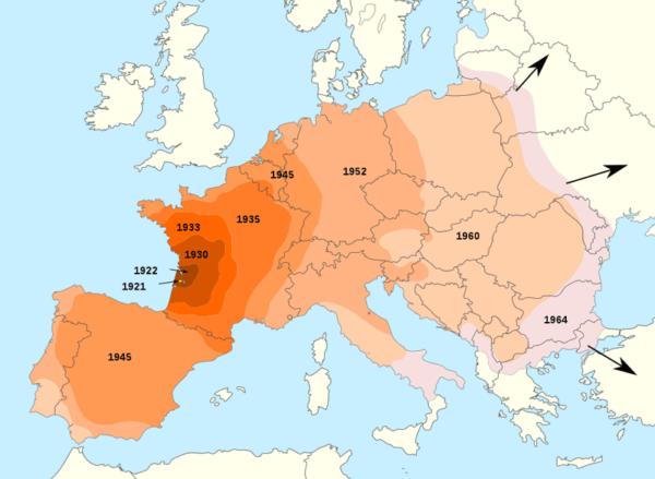 Karte mit den Jahresringen der Ausbreitung des Kartoffelkäfers über Europa