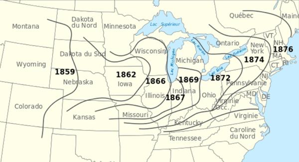 Karte mit der Ausbreitung des Kartoffelkäfers in den USA ab 1859