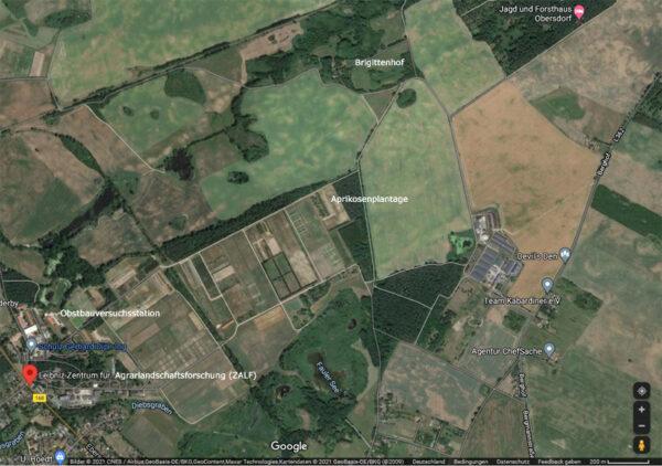 Das Gelände des ehemaligen KWI aus der Luft (GOOGLE-Maps-Ausschnitt)