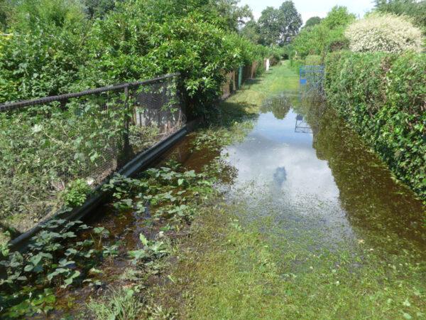 Kleingartenanlage unter Wasser